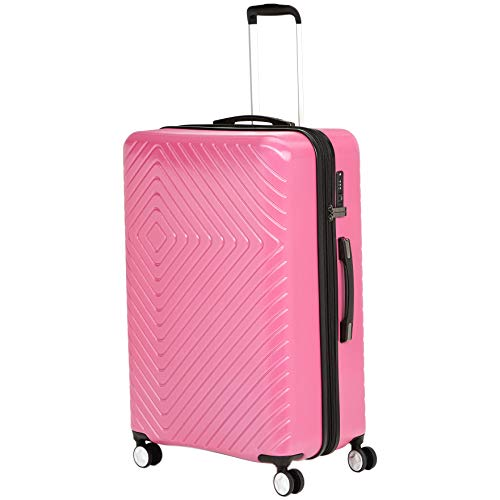 AmazonBasics Geometric Travel Luggage Expandable Suitcase Spinner with Wheels and Built-In TSA Lock, 31.3-Inch - Pink