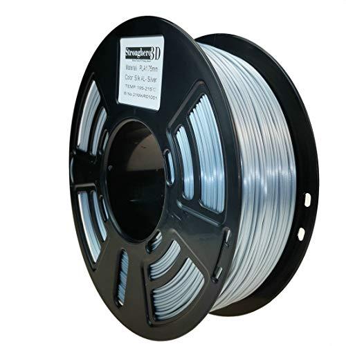 Stronghero3D PLA Stampante 3D Filamento Seta Alluminio Argento 1,75 mm Precisione +/- 0,05 mm Peso netto 1 kg per Ender3 Cr10