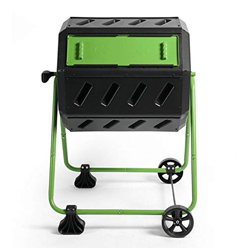 FCMP 37 Gallon Dual Chamber Quick Curing Outdoor Compost Tumbler Bin