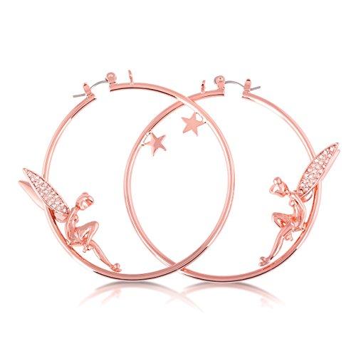 Disney Boucles d'oreilles créoles en plaqué or rose en forme de Fée Clochette avec ailes de cristal