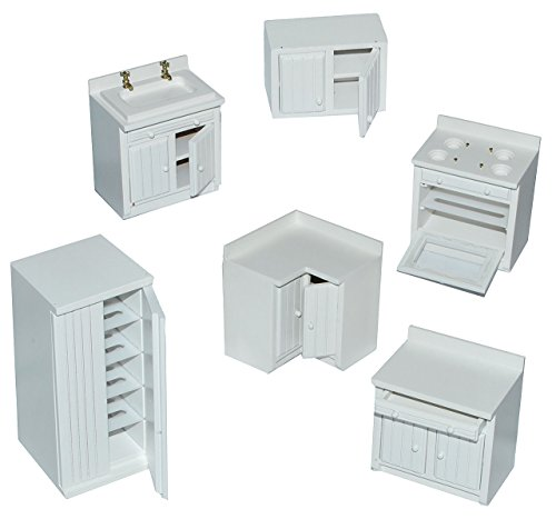 alles-meine.de GmbH 6 TLG. Set: Küche / Küchenmöbel - aus Holz -  weiß  - Miniatur Möbel - Schrank + Spühle + Hängeschrank + Herd + Eckschrank + Kühlschrank - Puppenstubenmöbel..