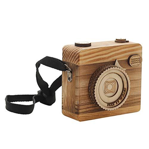 VOSAREA Retro hölzerne Spieluhr-Kamera, die dekoratives Geschenk der Tischplatte für Kinder anredet