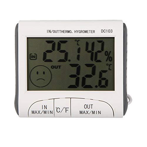 JHM Strumenti manuali di misurazione Misuratore di umidità dell\'igrometro con termometro Digitale LCD e Temperatura cablata con sensore Esterno Bianco Metro A Nastro