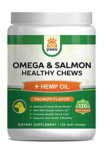 Salmon Oil for Dogs - Omega 3 Fish Oil & Hemp Oil for Dogs - Wild Alaskan Fish Oil Dog Treats Chews Supplement w/Omega 3 6 9 & DHA EPA - Pet Itch Skin & Coat & Allergy Support - 120 Bites