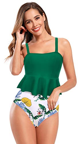SHEKINI Mujer Tankini de Dos Piezas Traje de Baño Elegante Volantes Correa de Hombro Ajustable Bañador de Dos Piezas Retro Impreso Cintura Alta Triángulo Fondo (M, Verde)