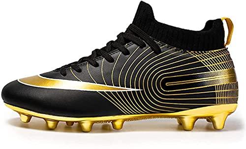 IFIKK Chaussures de Football Enfant Crampons Professionnel Spike Chaussure de Foot Homme Antidérapant Entrainement Chaussures de Sport pour Garçon High Top Football Boots (34, Haute Style 2)
