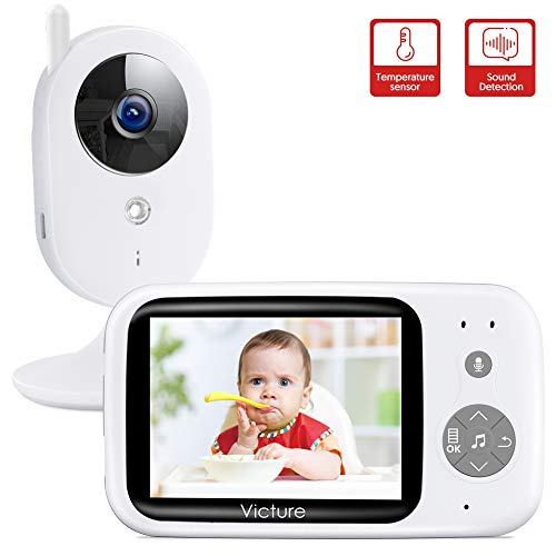 "Victure Babyphone mit Kamera, Video Baby Monitor/Baby Überwachung, 3.2"" Wireless Digital LCD Bildschirm Nachtsicht Temperaturüberwachung Gegensprechfunktion VOX Schlaflieder Wecker Wiederaufladbar"