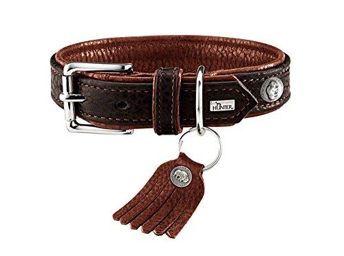 HUNTER CODY Hundehalsband, Leder, rustikal, weich, 55 (M), dunkelbraun/cognac