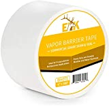 ELK Vapor Barrier Tape Moisture Barrier Seam and Seal Adhesive for Crawlspace Encapsulations, Carpet Padding, Masking, Underlayment or Marine Use, Waterproof 9 Mil Poly Tape (4 Inch x 180 Feet, White)