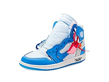 Nike Mens Air Jordan 1 X Off White NRG UNC White/Dark Powder Blue Leather Size 8
