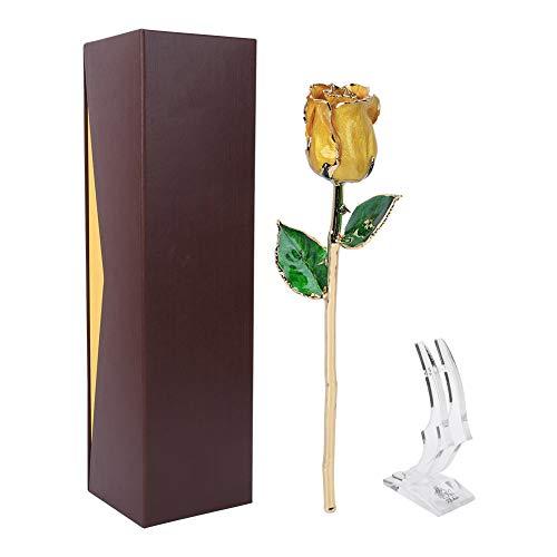 Rosa bañada en oro de 24 quilates, amarilla Rosa de oro de 24 quilates Rosa de tallo largo preservada para siempre con soporte de exhibición transparente para el día de San Valentín de la madre