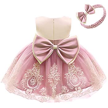 Baby Girls Embroidery Dresses Toddler Lace Ruffles New Year Easter Tutu Dress with Headwear  CameoBrown,80