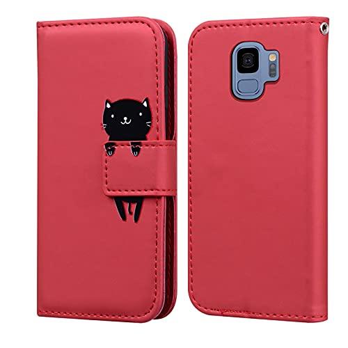 Custodia Samsung Galaxy S9, LUCASI Galaxy S9 Simpatico Cartone Animato Cover in Pelle, Supporto Stand, con Magnetica a Scatto, Flip Wallet Case, per Samsung S9, Rosso