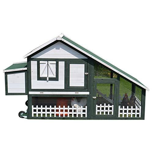 YCDJCS Hühner- Deluxe Zweistöckiges Holz-Häschen Hutchg Leiter Außen Run Box Slide-Out-Tray Pet Supplies Käfige & Laufställe (Color : Green, Size : 193.5 * 73 * 112.5 cm)
