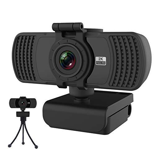 Aumdie Webcam 2K avec Microphone, Full HD 2K 1440P Caméra Web avec Cache Webcam Et trépied, USB 2.0 Plug & Play PC Web Caméra,pour Laptop,Computer,Appels Vidéo,Conférences,Live-Streaming