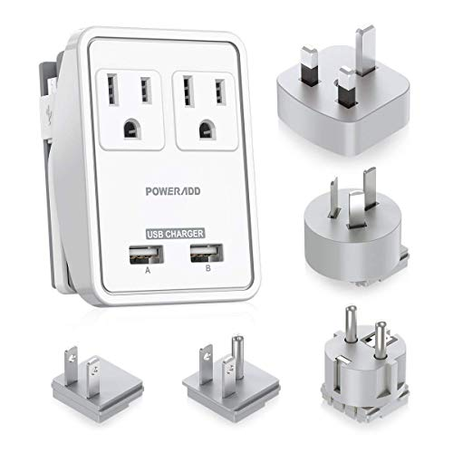 POWERADD Travel Adapter Kits - 3.4A USB with AC Outlets + Plugs for UK, US, AU, Europe & Asia, Charge Laptop, Cellphons, Camera - UL Listed