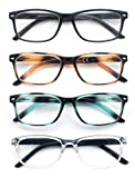 HEEYYOK 4 Pacco Occhiali da Lettura,Leggero Moda,Cerniere a Molla di Qualita,Occhiali da Vista per Uomo Donna,Mescola Colore