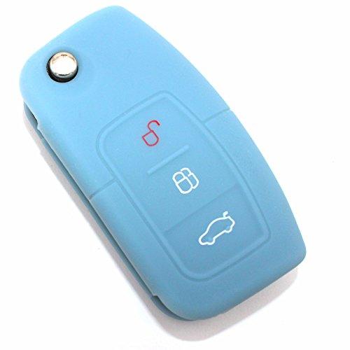 Finest-Folia Coque de clé FA 3 Boutons en Silicone pour clé de Voiture Gris Cendre