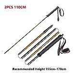 aonijie 2 pezzi bastoncini trekking pieghevoli, bastoni da trekking di alluminio ultraleggero, ideale per trekking, campeggio 110cm/120cm (110cm)