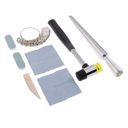 Tubayia 8 piezas de joyería anillo Sizer herramienta para la fabricación de joyas, con anillo de guía de sizer, varilla de sizer, martillador, paño de pulido, etc.