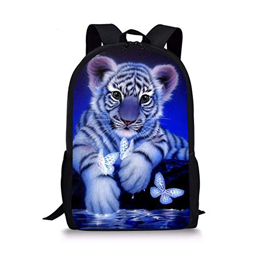 jenny-shop Blue Butterfly Tiger Kids Backpack School Children Book Bag Travel Daypack léger pour garçons Filles 17 Pouces
