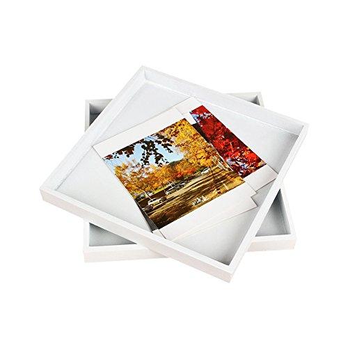 Bureau en bois cosmétiques carte postale Boîte de rangement Blanc en bois massif Plateau de rangement 20 x 20 cm