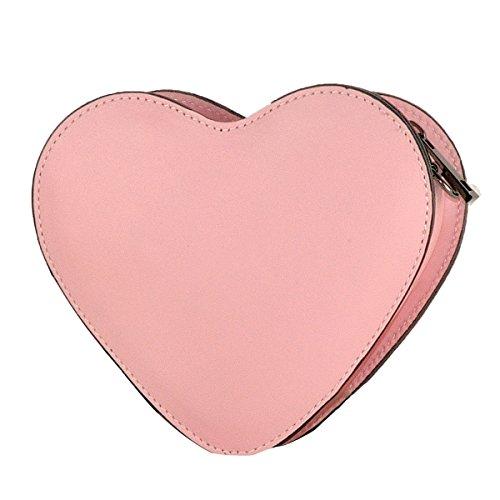 BORDERLINE - 100% Made in Italy - Pochette in Vera Pelle - HEART (Cipria)