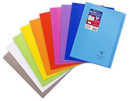 Clairefontaine 971601C - Un cahier piqué Koverbook 96 pages 21x19,7 cm 90g petits carreaux sans marge, couverture polypro (plastique) transparente, couleur aléatoire