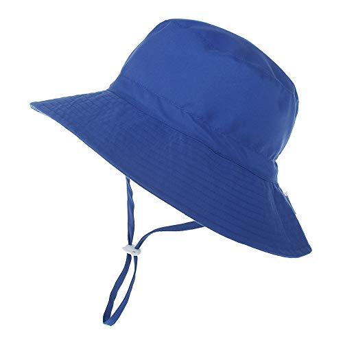 kids4ever Baby Hut Sommer UV Schutz 50 Sonnenhut mit Verstellbarem Kinnriemen Breite Krempe Sommermütze Atmungsaktiver Niedlicher Muster Fisherhut Mädchen Junge Sommerhut,Navy Blau