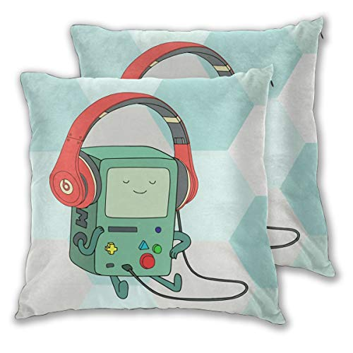 FUNINDIY Adventure Time BMO Square Throw Pillow Covers Set of 2, Decorative Cushion Cases Pillowcases Soft and Cozy for Sofa Bedroom Car 18x18 inches