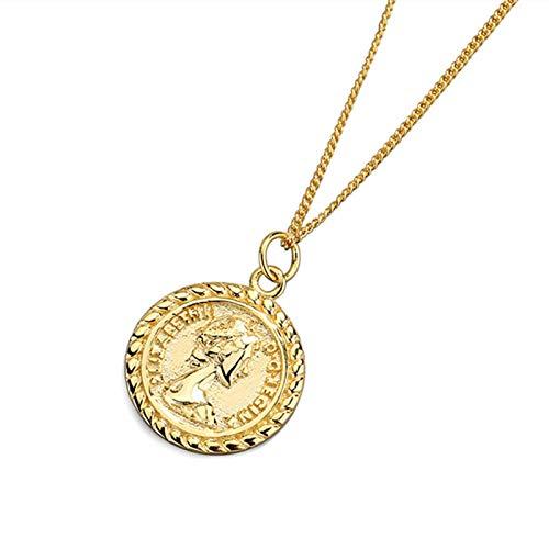 yuyuyu 925 Collares de Cadena de Plata Americana Collares Pendientes de Monedas Retro Joyería