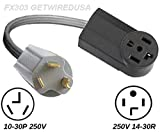 Old Dryer 10-30P 3-Pin Plug To New Dryer 4-Pin 14-30R Receptacle, Electric Power Outlet Converter, Dryer Cord Converter Adapter.