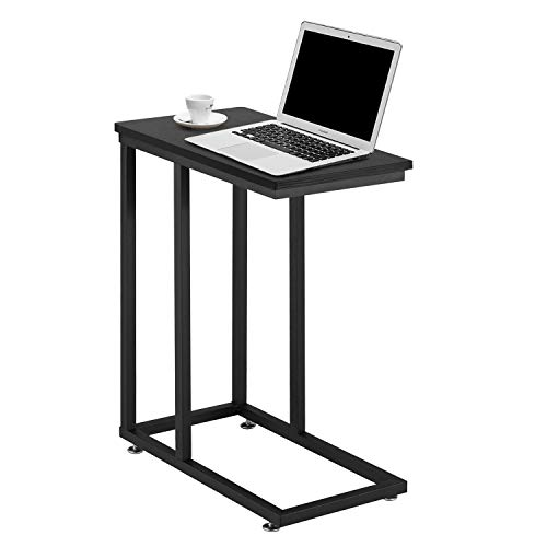 Preisvergleich Produktbild VECELO Beistelltisch,  Holz Kaffeetisch Sofatisch Nachttisch Betttisch Laptoptisch Couchtisch mit stabilem Eisengestell für Wohnzimmer / Schlafzimmer,  einfacher Aufbau