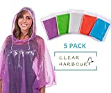 Clear Harbour Emergency Disposable Rain Poncho Pack for Adults | Women and Men's Rain Ponchos in Bulk | Extra Thick, Waterproof Reusable .03mm PE Plastic Material for Travel, Survival, and Fun.