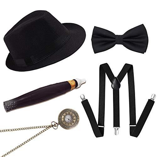 Conjunto de Accesorios para el Disfraz de gángster Masculino Gatsby de los años 20, Disfraz de Flapper de los años 20 (Negro 2)