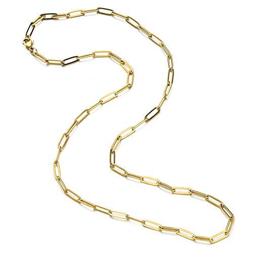 Pulseras de cadena de acero inoxidable para hombre y mujer, color dorado, cadena ovalada, ajustable, elegante pulsera (color de metal: collar de oro)