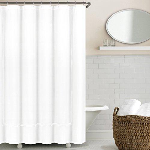 Echelon Home Collection White Echelon Hotel Three Line Shower Curtain