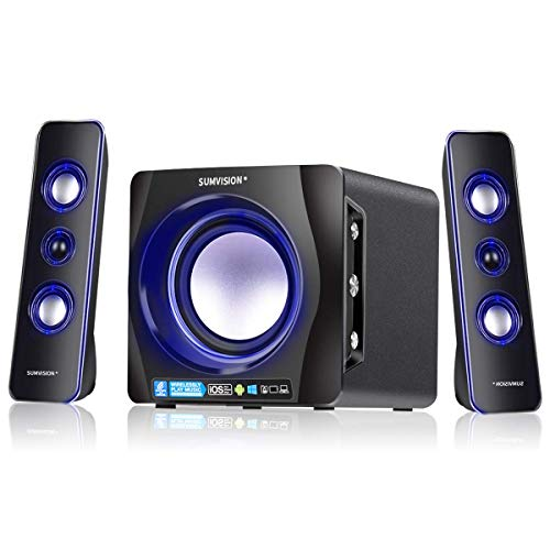 Sumvision Ncube Pro 2 LED Bluetooth 5.0 Enhanced Data Rate Designer Stereo Multimedia Altoparlante Wireless 2.1 con Bass Boost Subwoofer per PC Gaming Laptop Android iPhone, iPad iMac