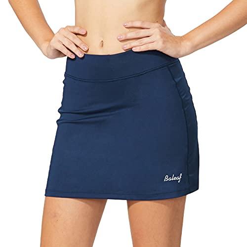 BALEAF Falda deportiva para mujer, ligera, con bolsillos cortos, para correr, tenis, golf, entrenamiento, deportes, Azul marino/flor y brillo, Large