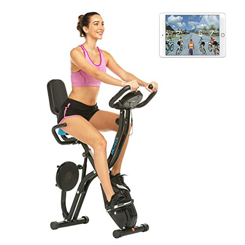Klapp-Heimtrainer, Indoor-Bike, stationäres Fahrrad mit 10-stufigem einstellbarem Magnetwiderstand, Twister-Platte, Pulssensor, platzsparend, perfekt für das Heim-Fitnessstudio