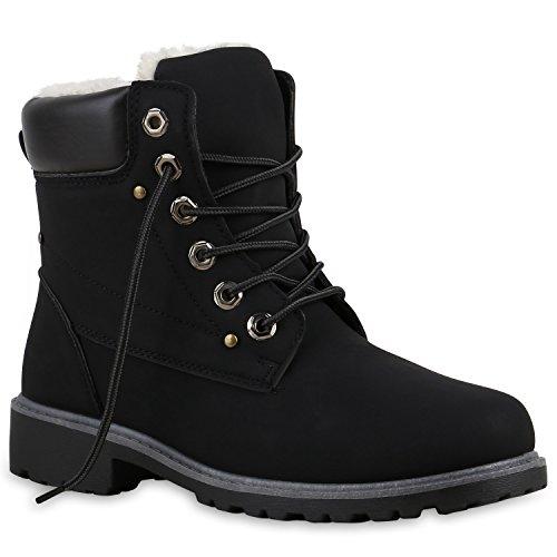 Unisex Damen Herren Warm Gefütterte Damen Worker Boots Stiefeletten Outdoor Schuhe 126177 Schwarz Dunkelbraun 38 Flandell