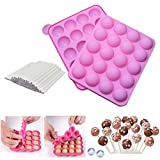 Silicone Cake Pop Mold + 120 Sticks, BPA Free Baking Mold for Candy Chocolate Lollipop Dessert Cupcake Cooker