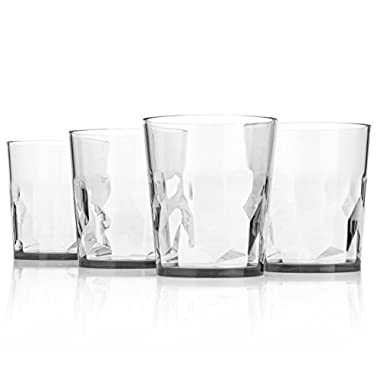 8 oz Premium Drinking Glasses - Set of 4 - Unbreakable Tritan Plastic - BPA Free - 100% Made in Japan (Clear)