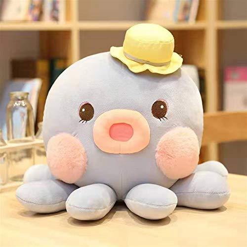 YUNCHENG Peluche muñeca figurina juguete mascota almohada animal, encantador creativo lindo historieta lujoso pulpo sombrero vestido colorido colorido acuático animales rosa amarillo azul kawaii plush