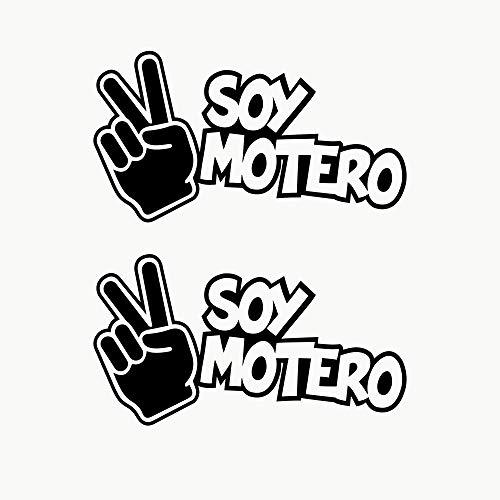 Autodomy Pegatinas Soy Motero Pack 2 Unidades para Coche o Moto. (Negro)