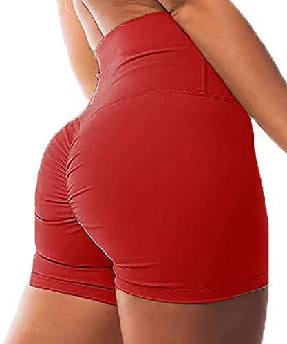 FITTOO Pantalones Cortos Capris 3/4 Leggings Mujer Mallas de Yoga Alta Cintura Elásticos y Transpirables #1 Rojo M