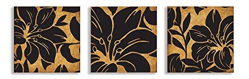 El Stupell Home Décor Collection Oscuro Beige y Negro Floral Print Lienzo Trio Ilustraciones