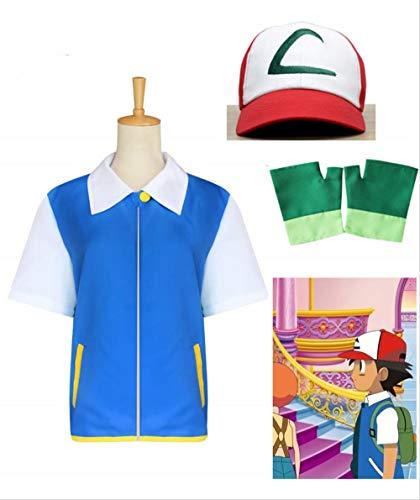 OPM Cosplay Kostüm für Kinder und Erwachsene, Pokemon Ash Unisex Kostüm Set, für Halloween-Party Cosplay (Blaue Jacke Handschuhe Hut enthalten) Kinder 150