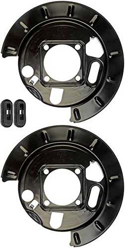 APDTY 035332 Drum Brake Dust Shield Backing Plate Pair; Rear Left & Right (Replaces 12472851, 12476287, 19178785, 19178786)