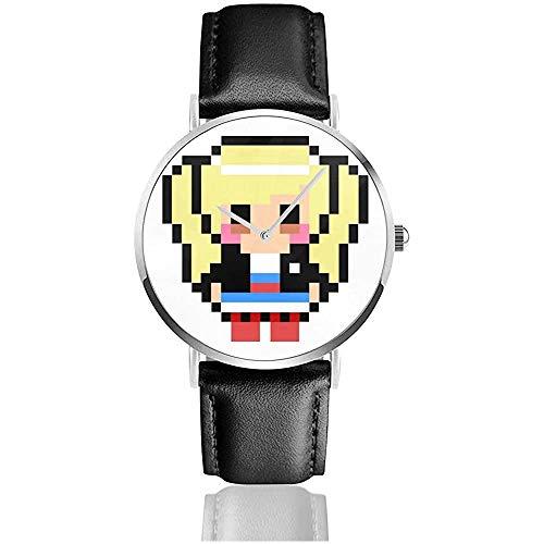 Persona 5 ANN Takamaki Pixel Art Relojes Reloj de Cuero de Cuarzo con Correa de Cuero Negro para Regalo de colección